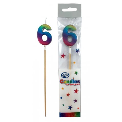 #6 RAINBOW METALLIC LONG STICK CANDLE