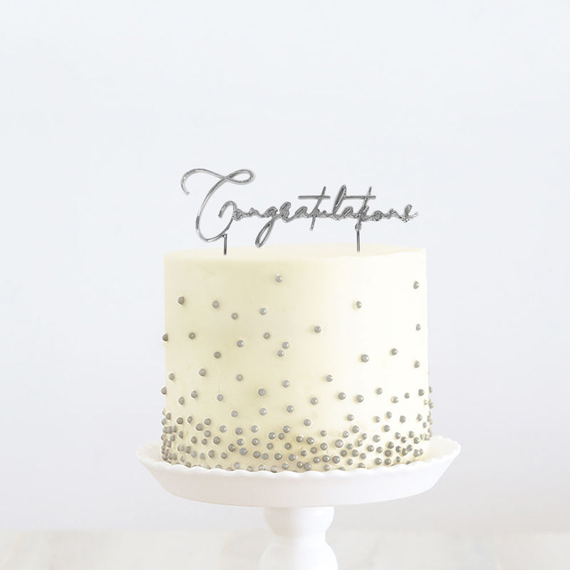 Cake Toppers - Congratulations - Silver Plated Metal