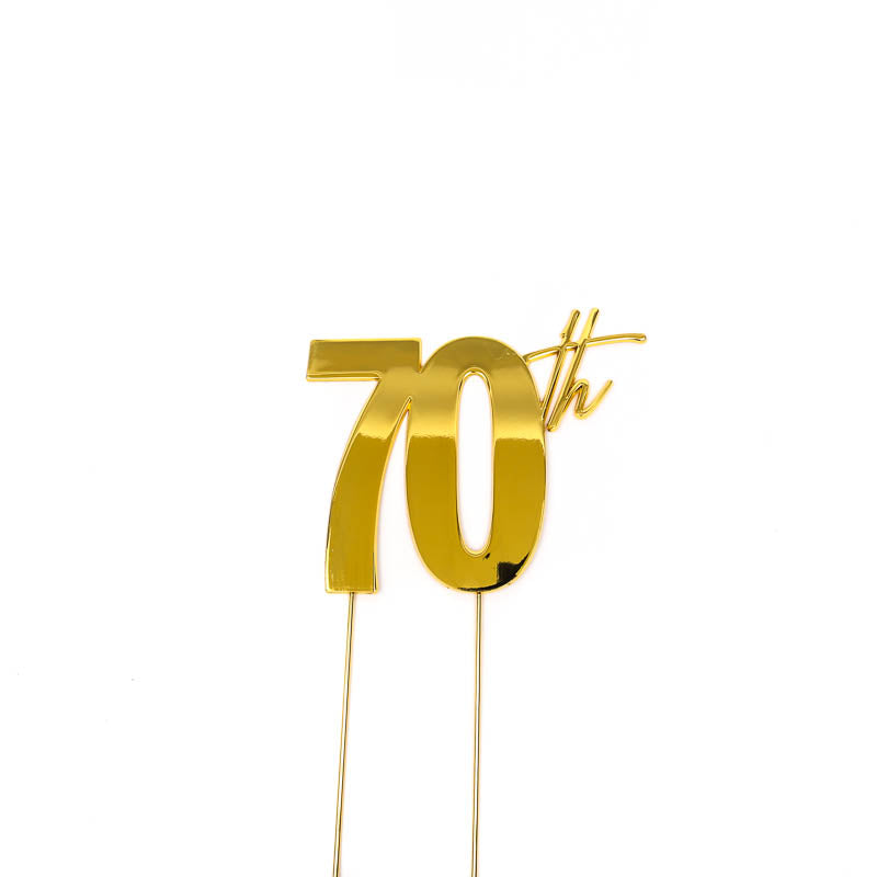 Cake Toppers - 70th - Gold Plated Metal