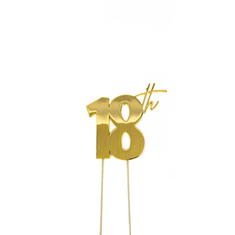 Cake Toppers - 18th - Gold Plated Metal