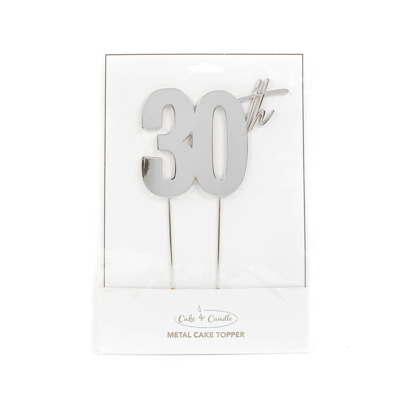 Cake Toppers - 30th - Silver Plated Metal