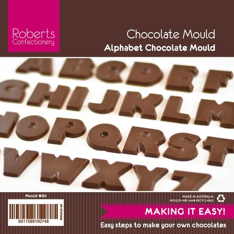 ALPHABET CHOCOLATE MOULD WITH RECIPE CARD NO 60