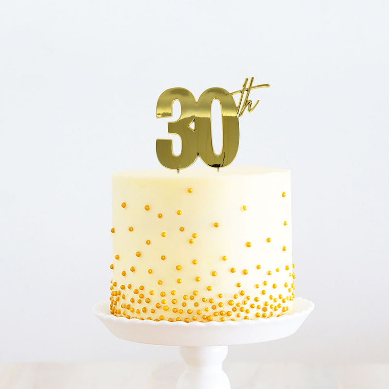Cake Toppers - 30th - Gold Plated Metal