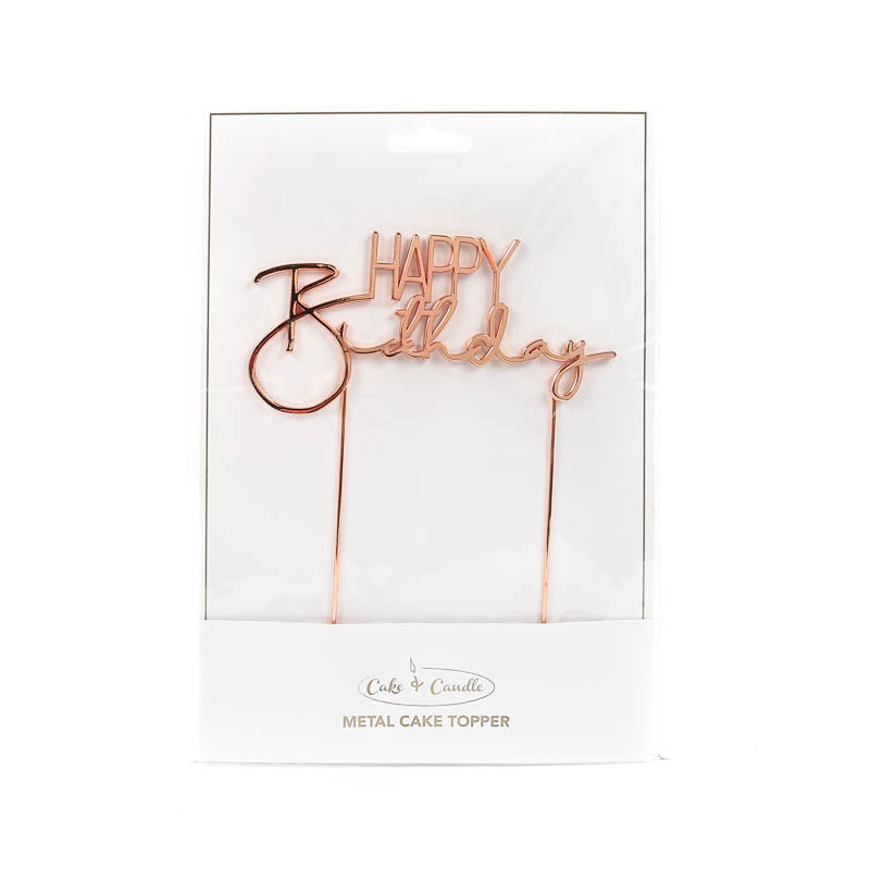 Cake Topper - Happy Birthday (V2) - Rose Gold Plated