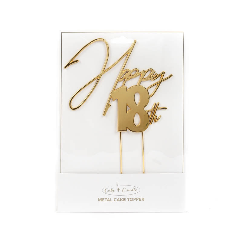 Cake Toppers - Happy 18th - Gold Plated Metal