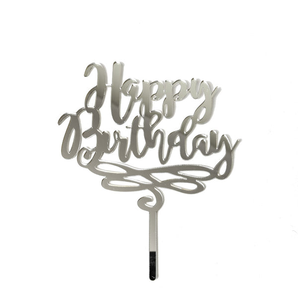 Cake Topper - Happy Birthday - Silver Mirror Acrylic