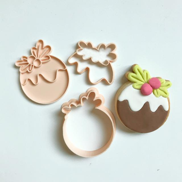 Cookie Cutter & Embosser Set - Mini Christmas Pudding - by Little Biskut