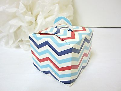 Cupcake Boxes - 1 Hold (Single) - Blue Zig Zag - Pack of 6