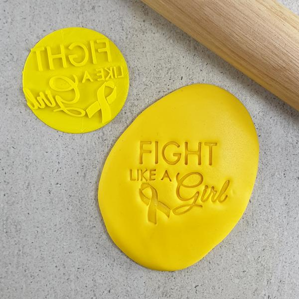 Fight Like A Girl (Awareness Ribbon) Embosser - 60mm