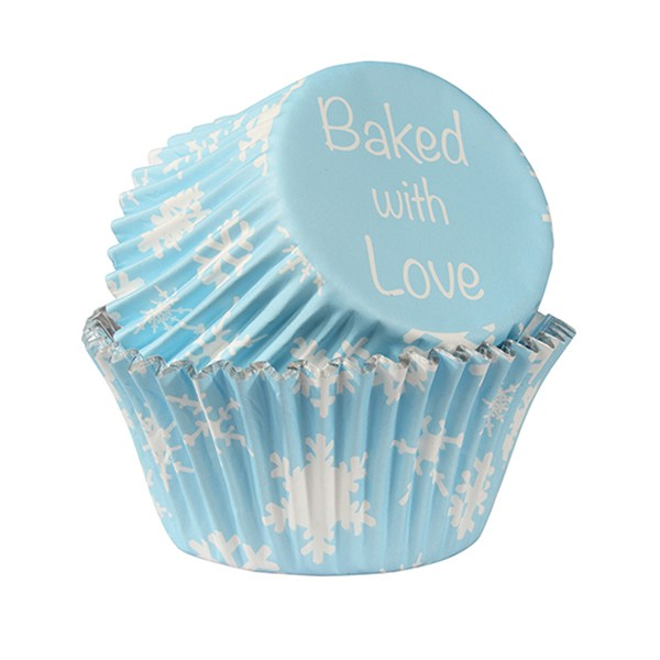 Cupcake Cases Std - Blue Snowlfakes Foil (25 pack) - Baked With Love