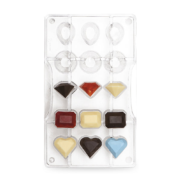 Chocolate Mould - Gems Asstd 15 cavities - Polycarbonate