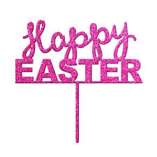Happy Easter - Pink Glitter Acrylic Cake Topper