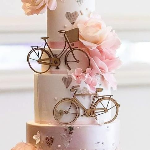 Bike Duo Cake Topper - Large Wood - Sweet Stamp