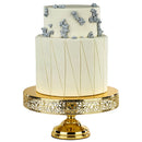 14 inch Gold Plated Cake Pedestal Stand - Le Gala Collection - Lace Edge