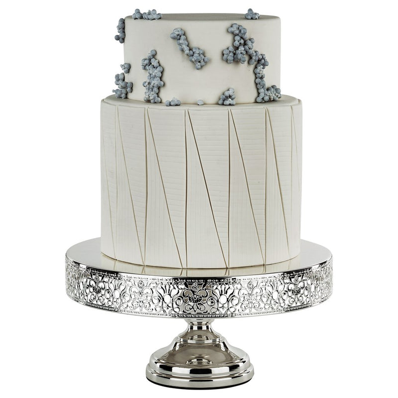 14 inch Silver Plated Cake Stand Pedestal - Le Gala Collection - Lace Edge