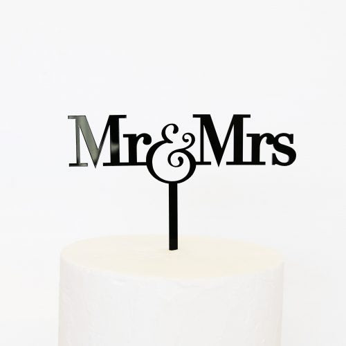 BLACK MR & MRS CAKE TOPPER - by Sandra Dillon Designs
