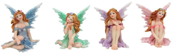 8cm Sitting Glitter Fairy Cake Ornament - Asstd
