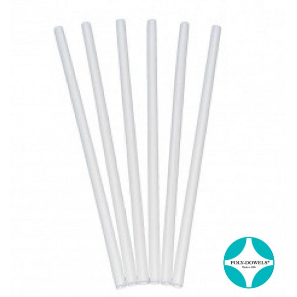 Small White Poly Dowels - 12 inch length