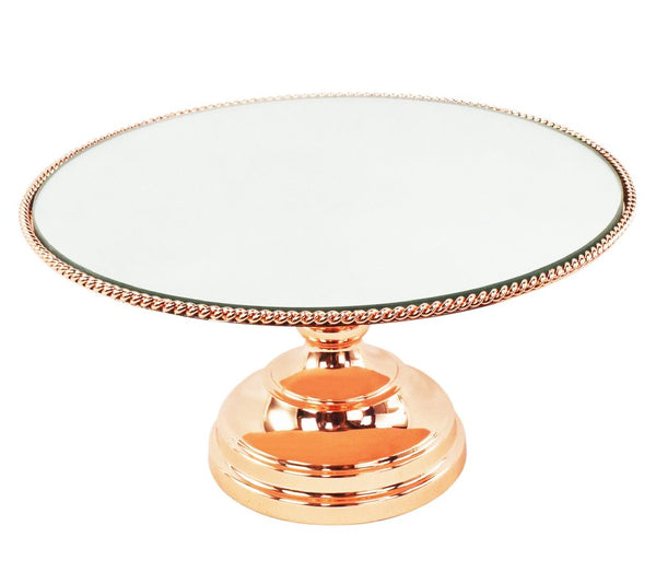 Cake Stand - 12 inch Rose Gold Plated Mirror Top / Rope Edge Pedestal