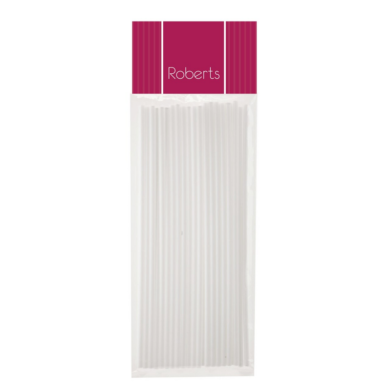 8 inch WHITE LOLLIPOP STICKS 25PK - ROBERTS