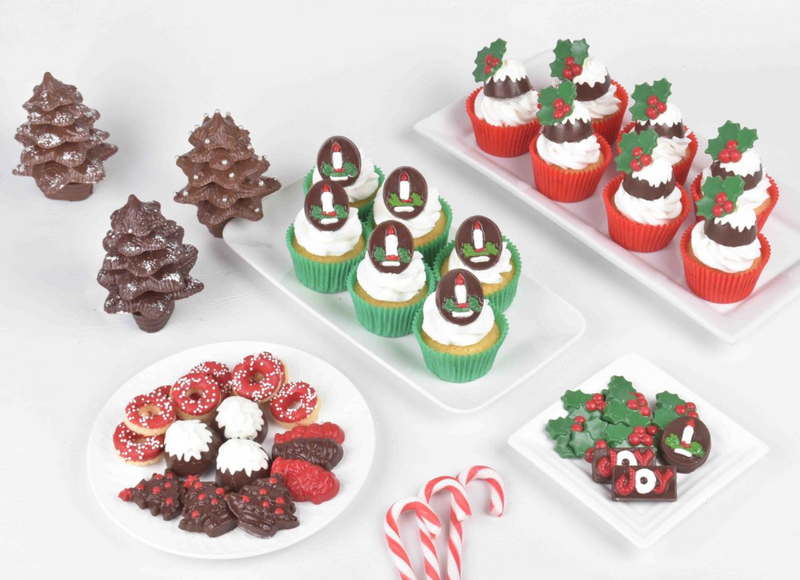 CHRISTMAS CUPCAKE WREATH CHOCOLATE MOULD - HOLLY, CANDY CANE, BELL, SANTA, TREE