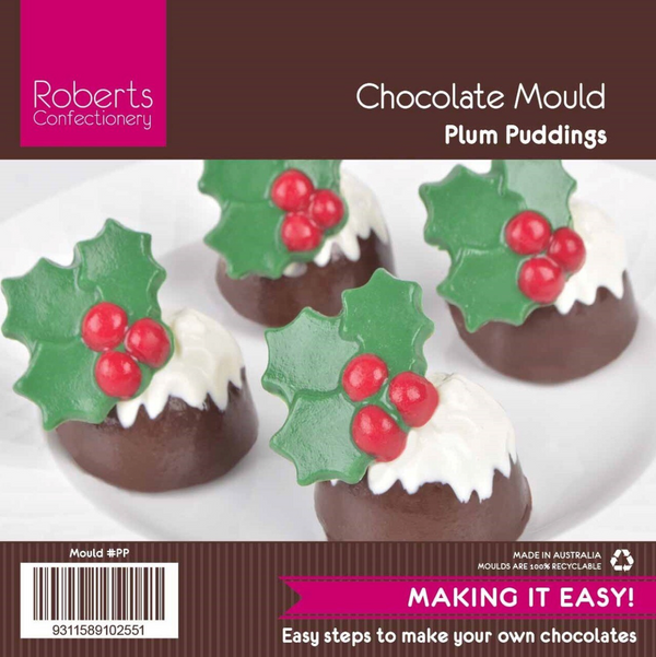 CHRISTMAS PUDDING WITH HOLLY CHOCOLATE MOULD