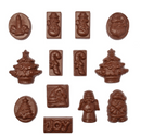 CHRISTMAS SHAPES CHOCOLATE MOULD - JOY, TREE, SNOWMAN, CANDY CANE, CANDLE, ANGEL