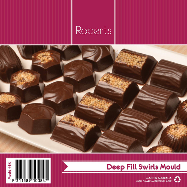 DEEP FILL SWIRLS CHOCOLATE MOULD WITH RECIPE CARD #85