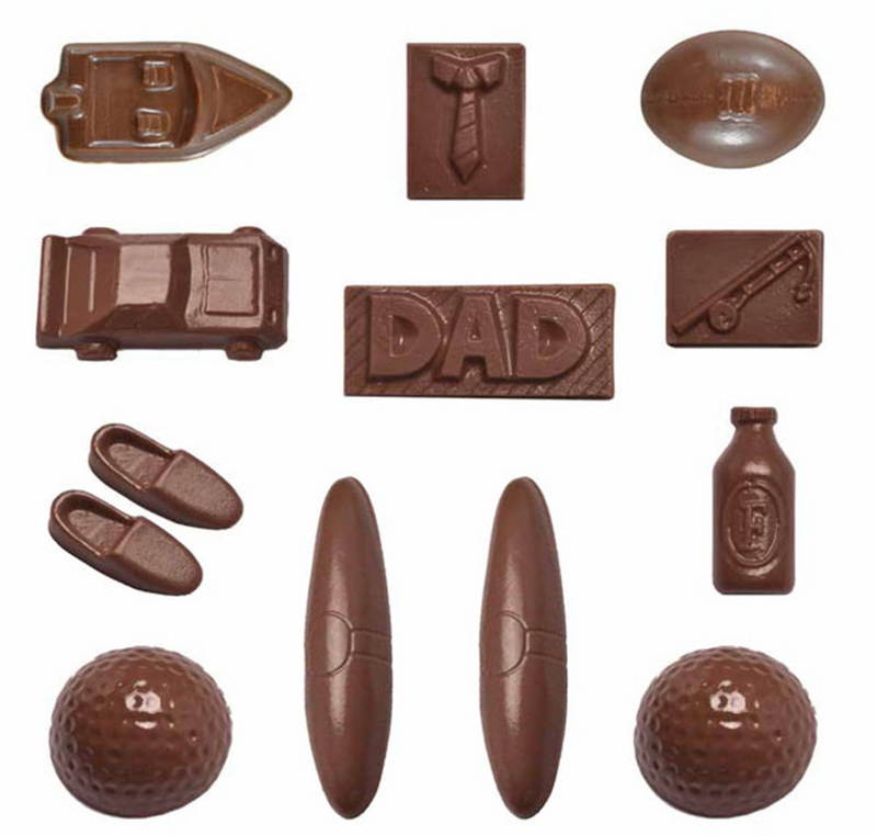 FATHERS CHOCOLATE MOULD - DAD, BOAT, TIE, CAR, GOLF, FOOTBALL, BEER, CIGAR