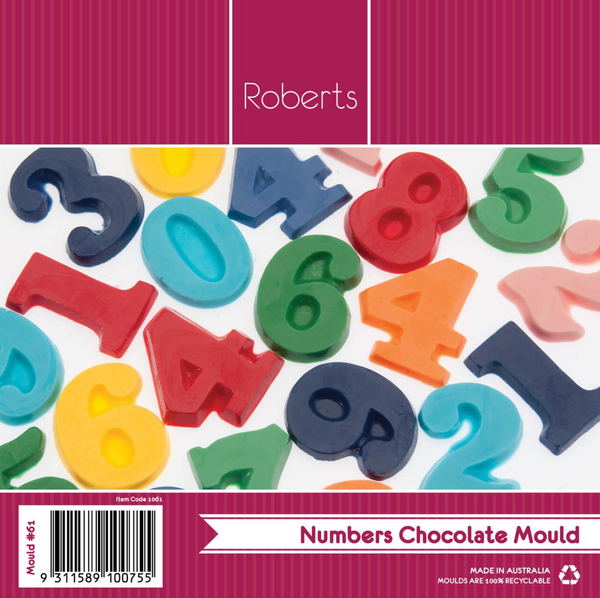 NUMBERS CHOCOLATE MOULD WITH RECIPE CARD NO 61