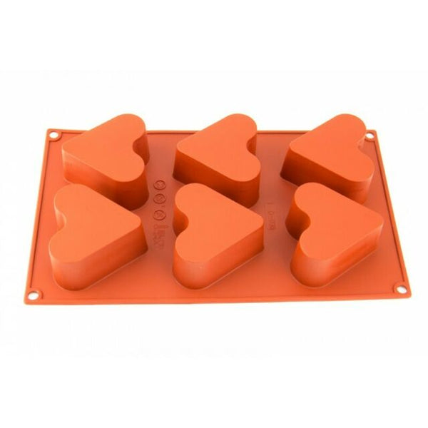 Silicone Chocolate Mould - Deep Heart 6 Cavity