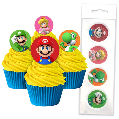 Wafer Cupcake Toppers - Super Mario