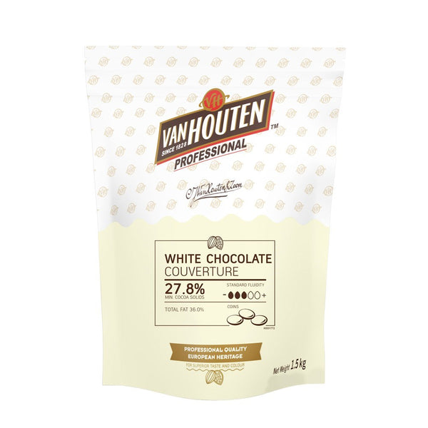 Chocolate - White Couverture Chocolate Buttons 1.5kg - Van Houten Professional