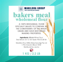 Flour - Bakers Meal Wholemeal 1kg - Manildra