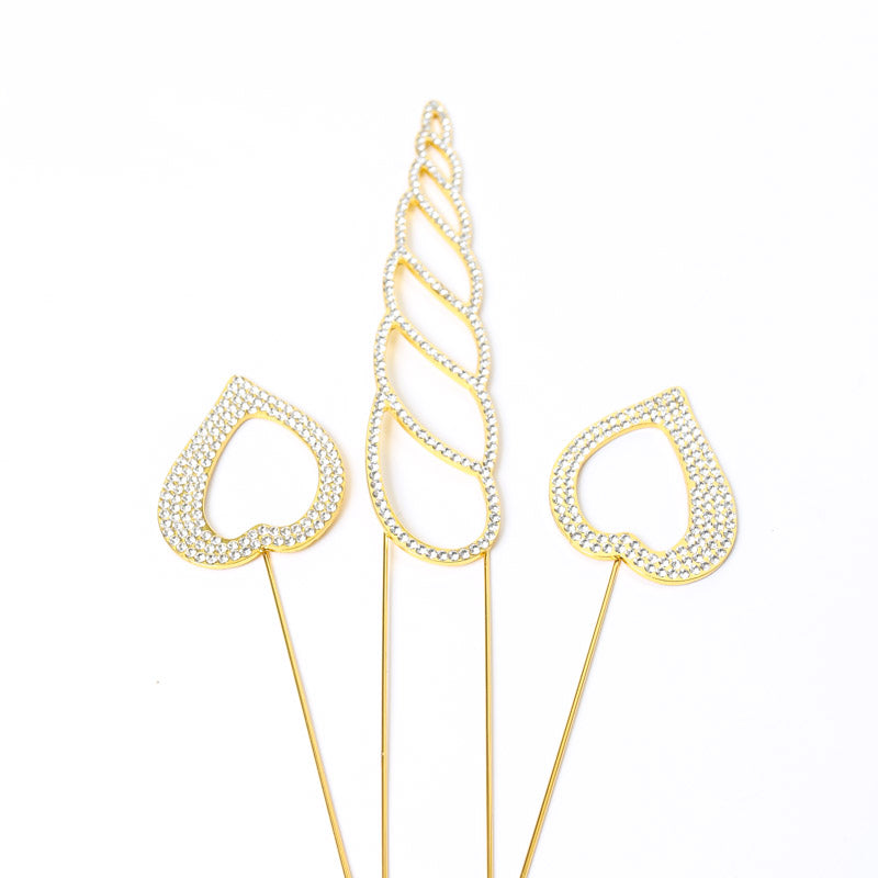 Cake Topper - Diamante & Gold Unicorn Horn & Ears Set
