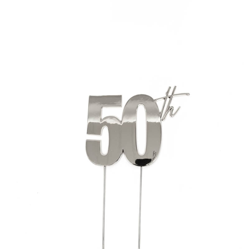 Cake Toppers - 50th - Silver Plated Metal