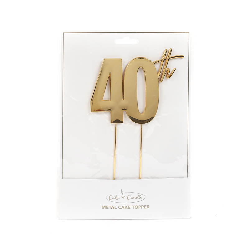 Cake Toppers - 40th - Gold Plated Metal