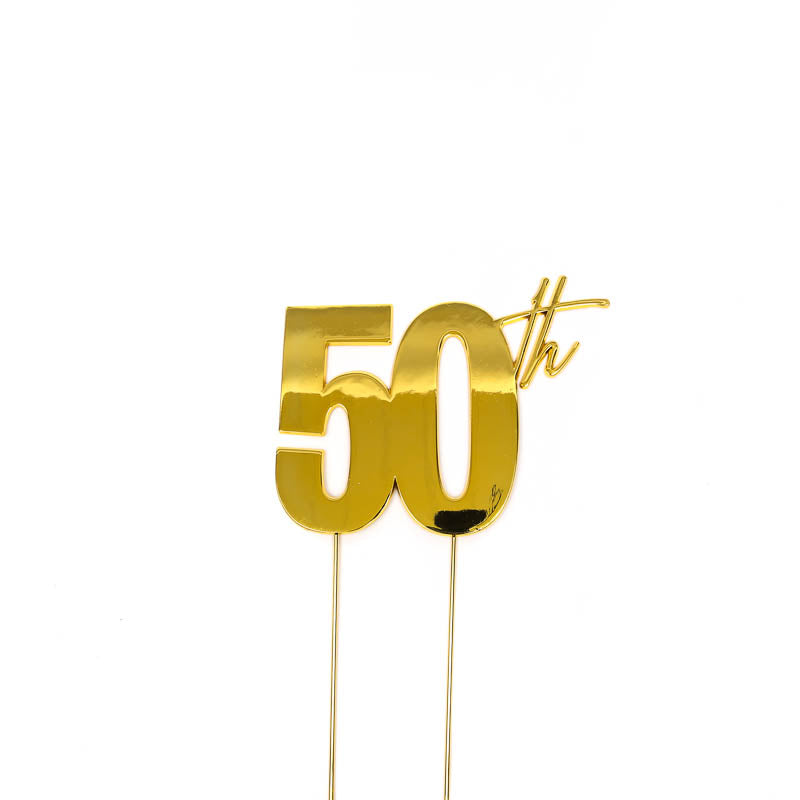 Cake Toppers - 50th - Gold Plated Metal