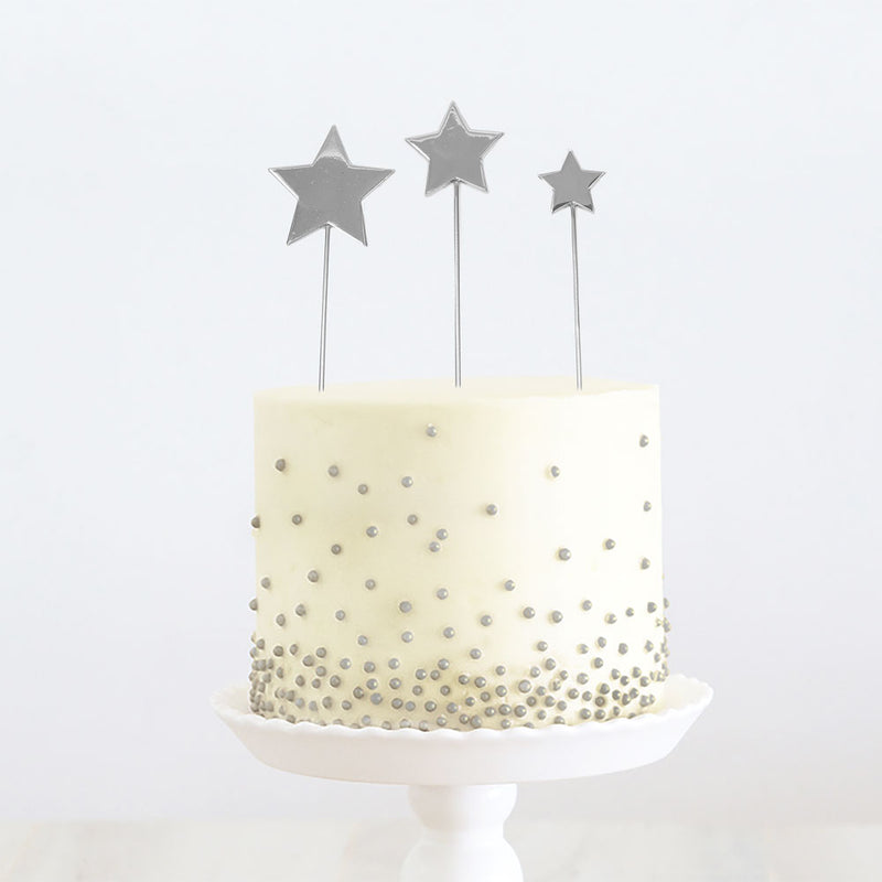 Cake Toppers - Trio of Stars - Silver Plated