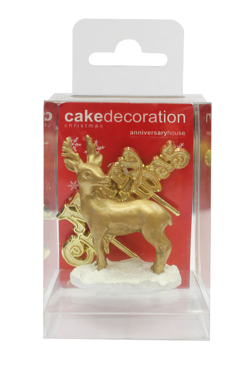 Cake Topper - Gold Reindeer & Merry Christmas Set (Plastic & Resin)