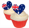 Australia Flag Hearts - Edible Wafer Cupcake Toppers