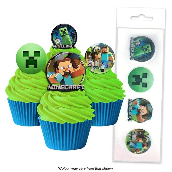 MINECRAFT EDIBLE WAFER CUPCAKE TOPPERS 16 PIECES