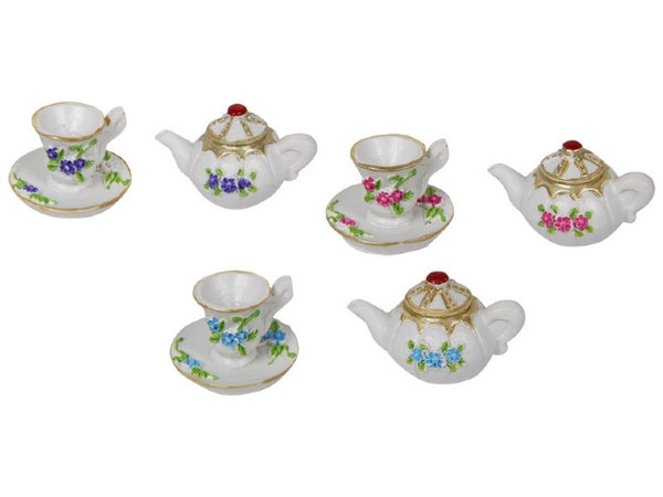 Miniature Tea Cup/Teapot 3pc - Cake Ornament Non Edible