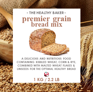 Bread Mix - Premier Grain Bulk 1kg - The Healthy Baker  A blend of nutritious grains and whole seeds. Containing kibbled wheat, corn & rye, combined with malted wheat flakes & linseeds for the optimal healthy bread.  Available at Latorta