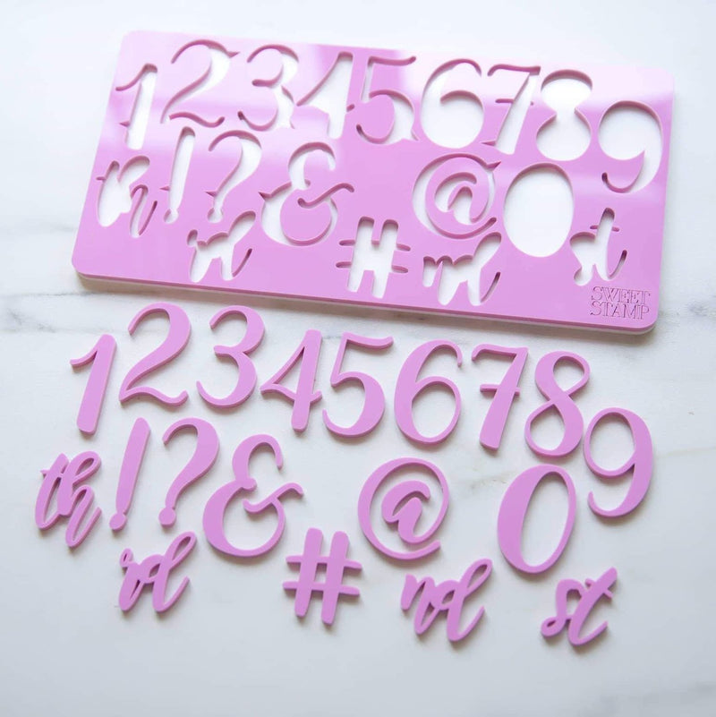 Elegant - Numbers & Symbols Set - Sweet Stamp - Fuchsia