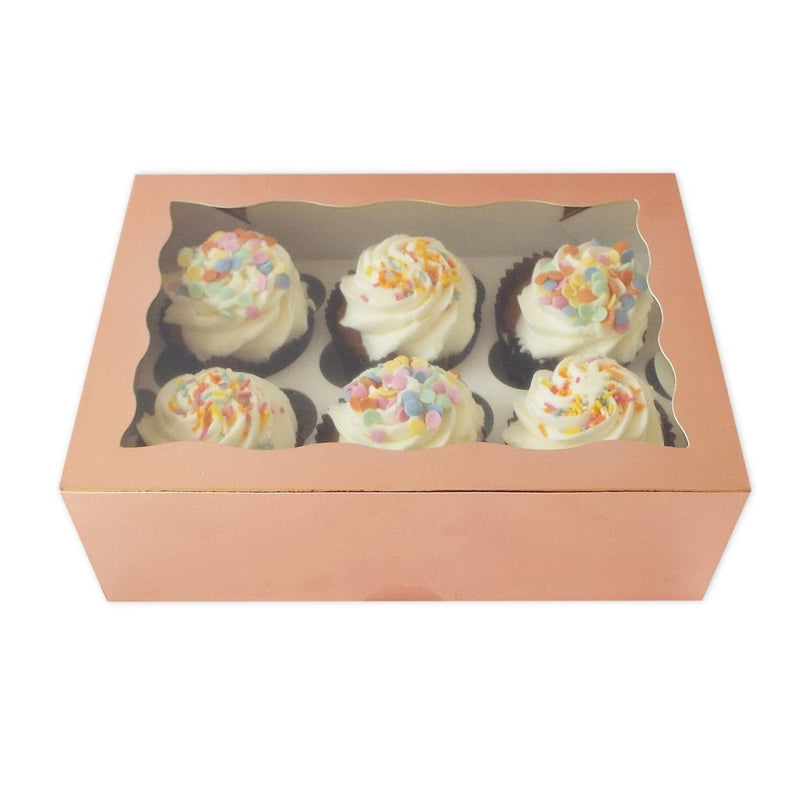 Cupcake Box - 6 Hold - Rose Gold