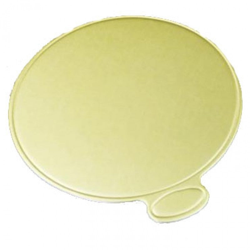 Round Cardboard Cake Board Gold - 8cm Gold Dessert Board with Tab