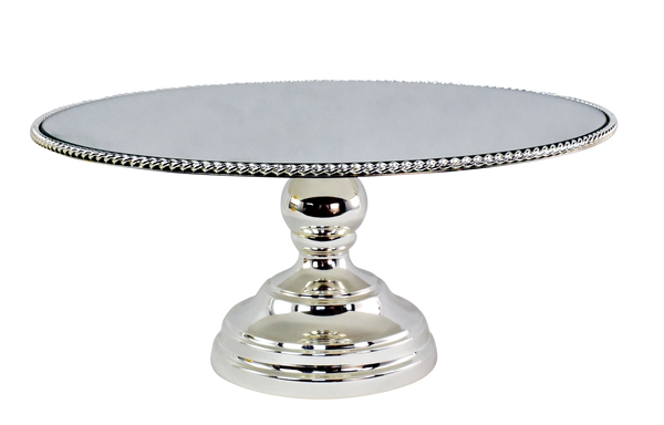 Cake Stand - 10 inch Silver Plated Mirror Top / Rope Edge Pedestal