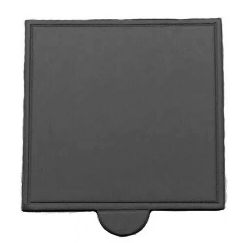 Square Cardboard Cake Board - 7cm Black Dessert Board with Tab
