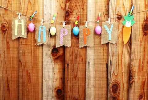 Happy Easter Wooden Wall Colorful Eggs Backdrop for Party
